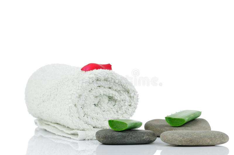 Massaggi le pietre, l'aloe ed i petali fotografie stock libere da diritti