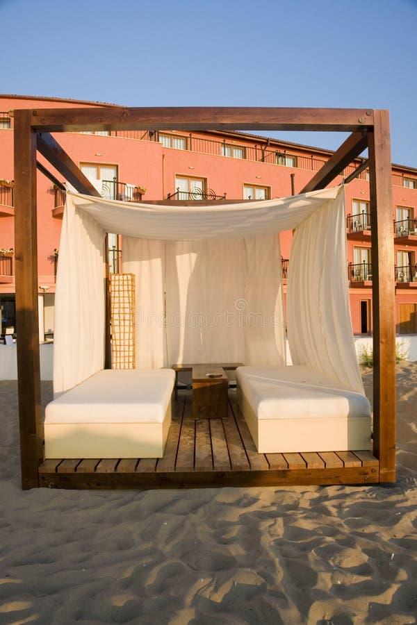 massaggio della cabina della spiaggia fotografia stock