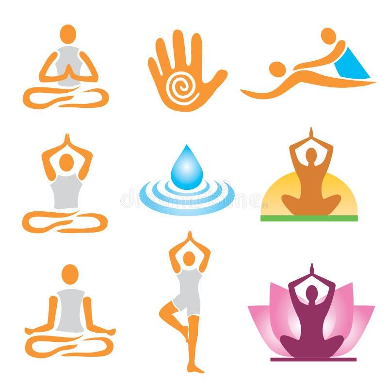 Massaggio della stazione termale di yoga delle icone illustrazione di stock