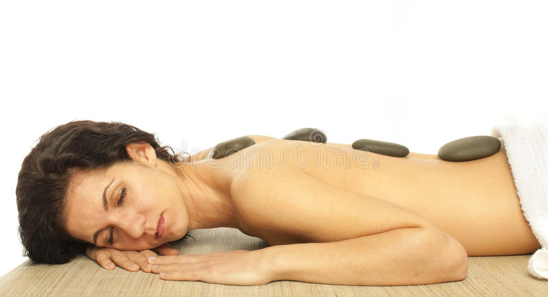 Massaggio di pietra caldo fotografie stock libere da diritti