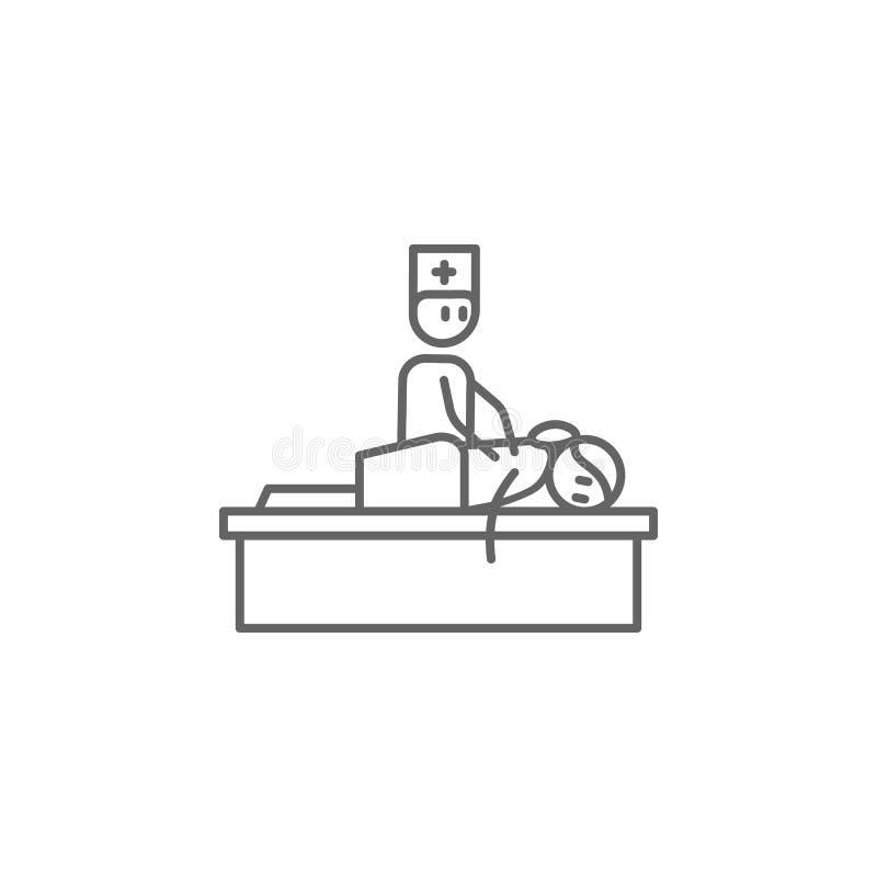 Massaggio, fisioterapia, icona di medico Elemento dell'icona di fisioterapia Linea sottile icona per progettazione del sito Web e royalty illustrazione gratis