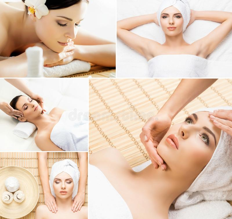 Massaging and healing set. Health, medicine and recreation collage. Healing and massaging concept. royalty free stock images