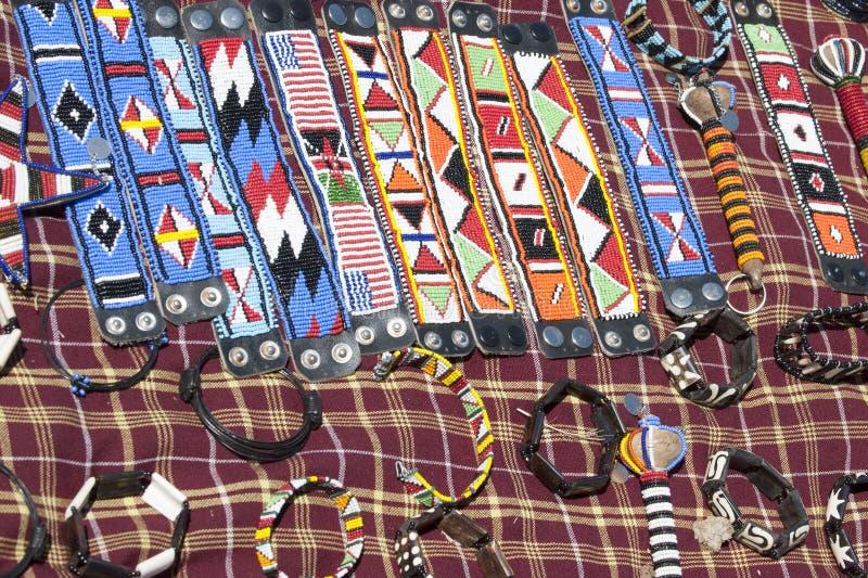 massai部落的被手工造的小装饰品 库存图片
