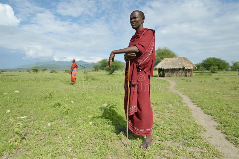 Arusha, Tanzania, February 07, 2016: Massai man standing in front of the house. Massai man standing in front of the house stock images