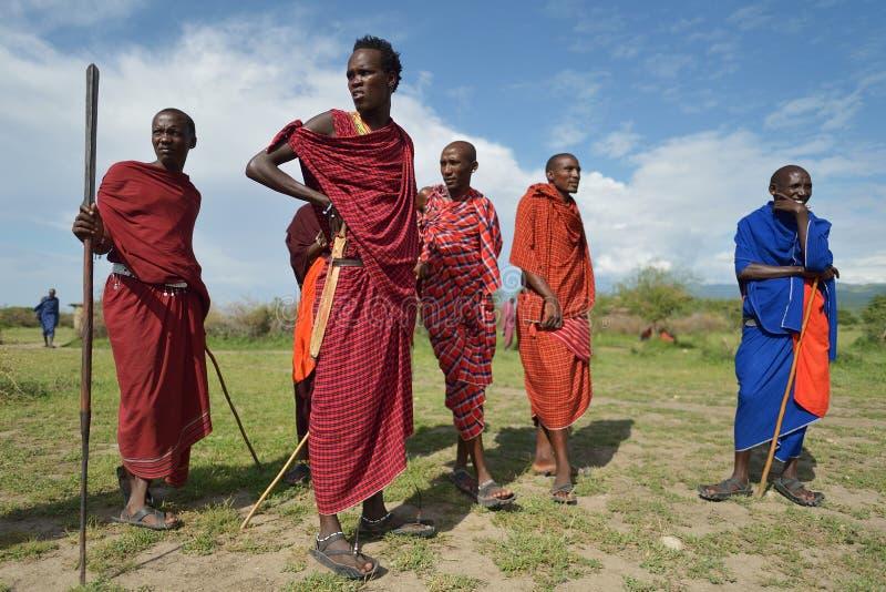 Arusha, Tanzania, February 07, 2016: Massai people in traditional clothes. Massai people in traditional clothes royalty free stock photography