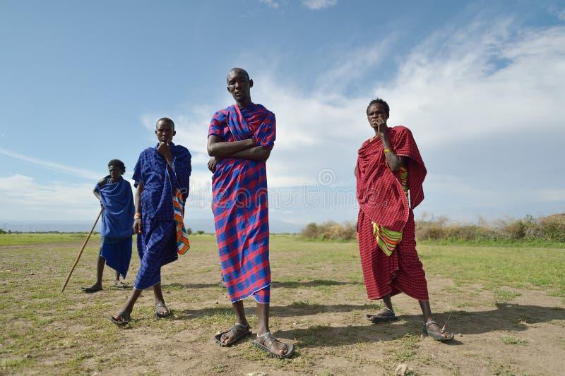 Arusha, Tanzania, February 07, 2016: Massai people in traditional clothes. Massai people in traditional clothes stock images