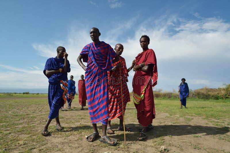 Arusha, Tanzania, February 07, 2016: Massai people in traditional clothes. Massai people in traditional clothes stock photos