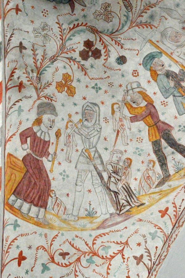 Massaker der Unschuldige - Frescoed Kirchen von Kirche Møn - Keldby stockfoto