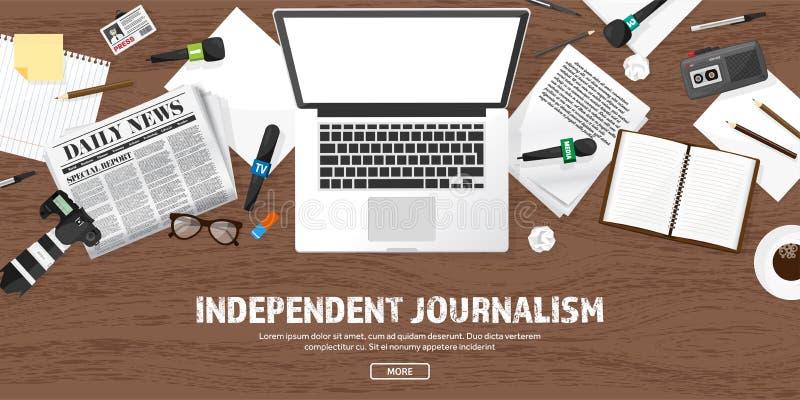 Massamediaachtergrond met microfoon in een vlakke stijl Persconferentie met correspondent en verslaggever broadcasting stock illustratie