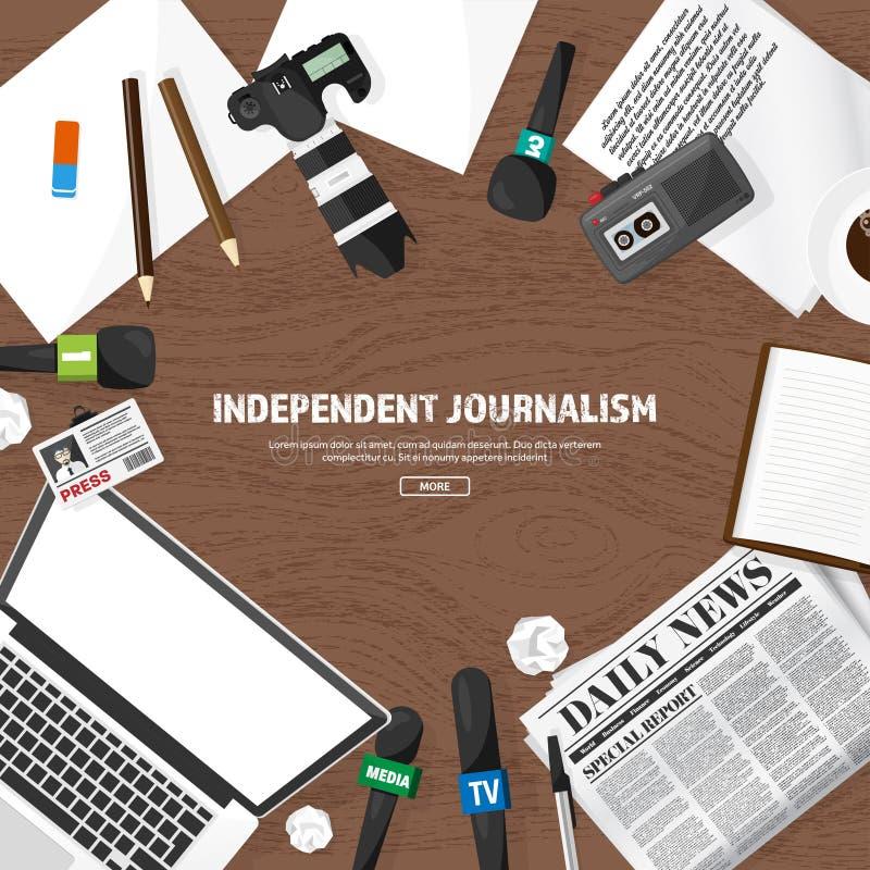 Massamediaachtergrond met microfoon in een vlakke stijl Persconferentie met correspondent en verslaggever broadcasting royalty-vrije illustratie