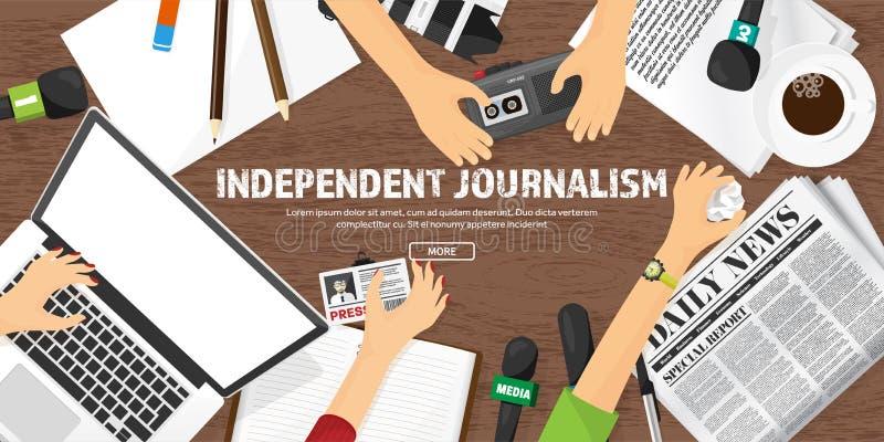 Massamediaachtergrond met microfoon in een vlakke stijl Persconferentie met correspondent en verslaggever broadcasting vector illustratie