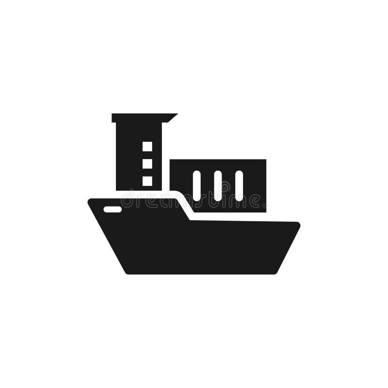 Massaproduktie, overzees schip met containerspictogram - Vector Eenvoudige elementenillustratie van UI-concept Massaproduktie, ov stock illustratie