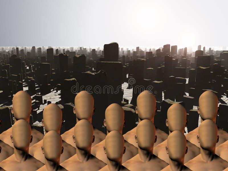 Massas sem cara antes das ruínas ilustração do vetor