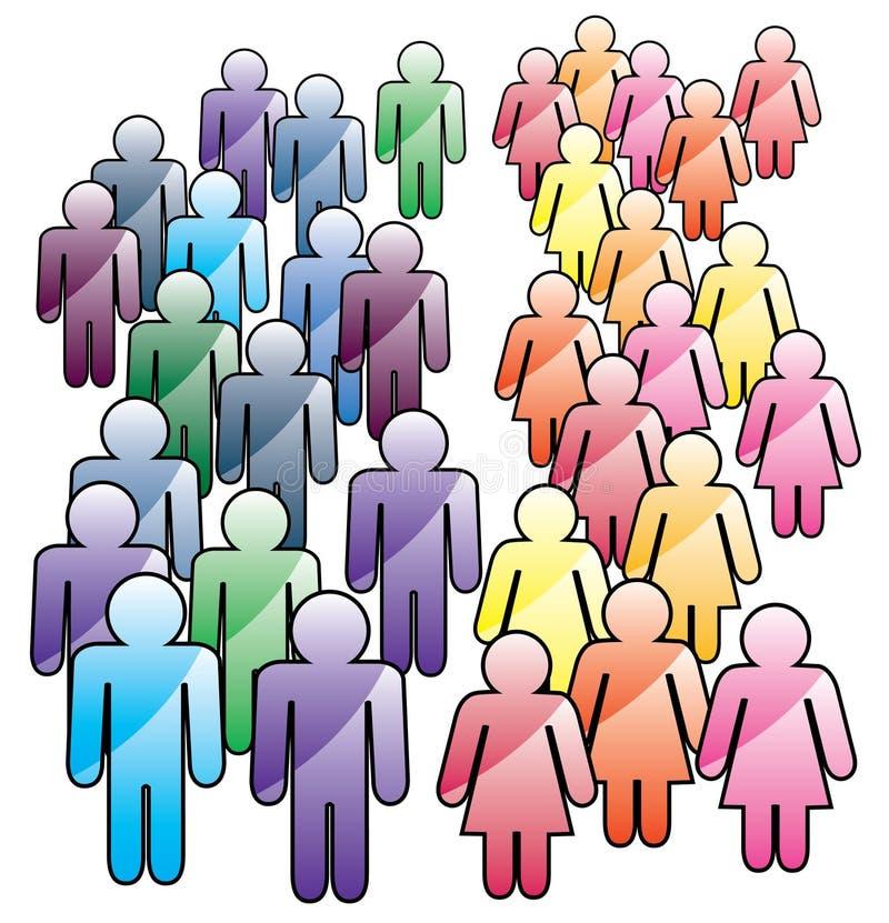 Masse der Männer und der Frauen stock abbildung