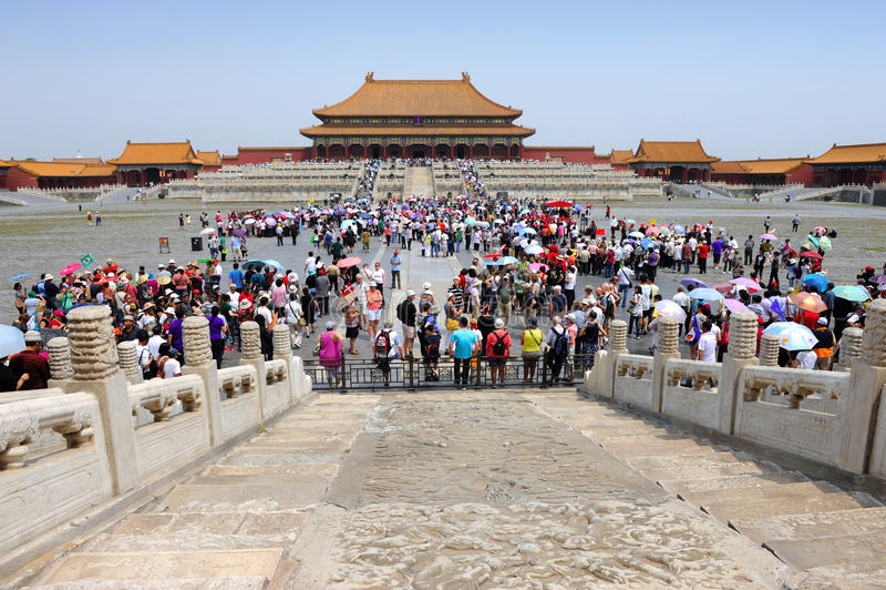 Masse in verbotener Stadt, China stockfotografie