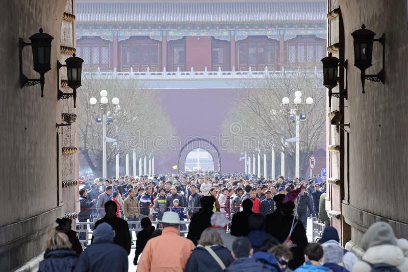 Masse in verbotener Stadt, China stockfotos