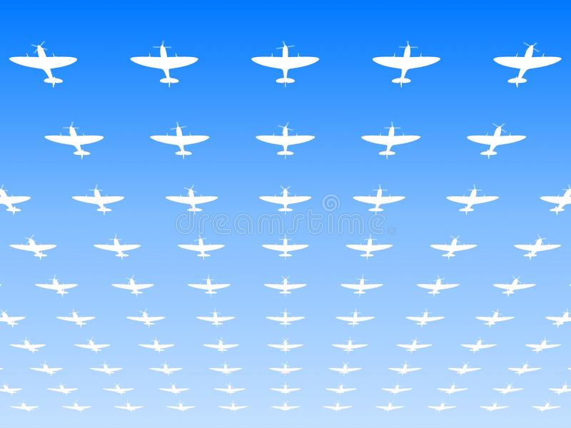 A massed formation of Spitfire fighters stock illustration