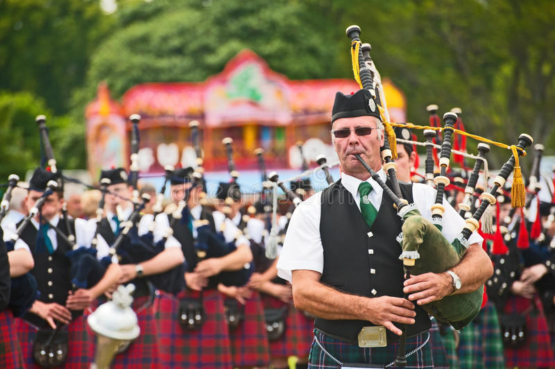 Massed Pipers At Tain Gala Editorial Photo