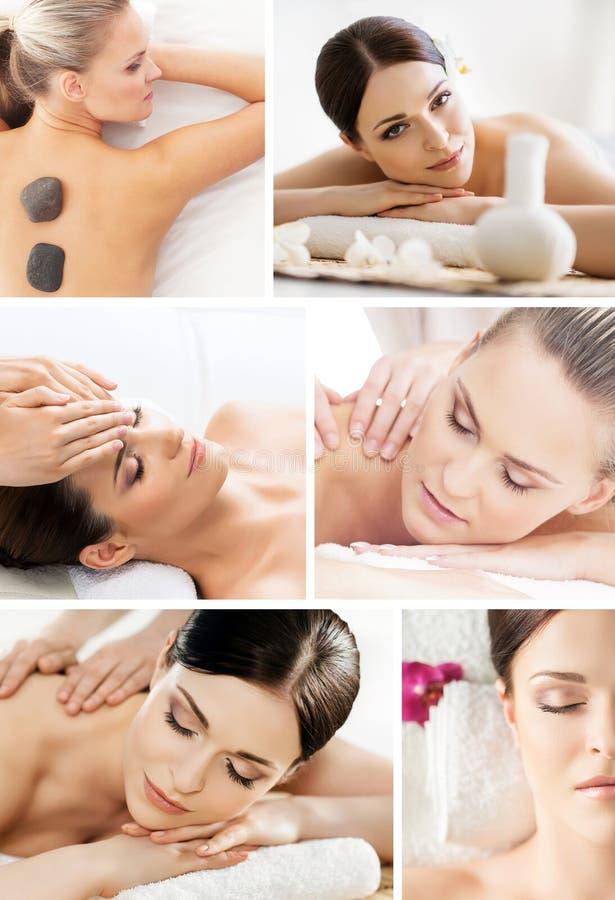 Massera collage Härliga kvinnor som har olika typer av massagen arkivfoto