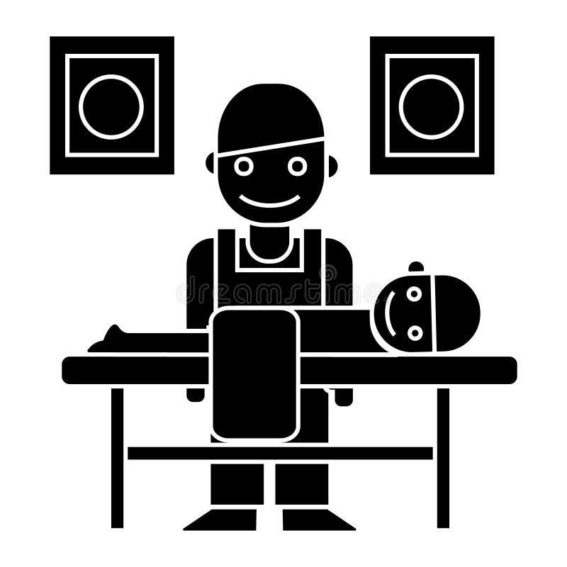 Masseur - l'icône de chiroprakteur, illustration de vecteur, noir se connectent le fond d'isolement illustration stock