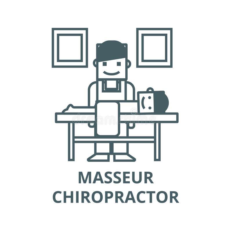Masseur, ligne icône, concept linéaire, signe d'ensemble, symbole de vecteur de chiroprakteur illustration libre de droits