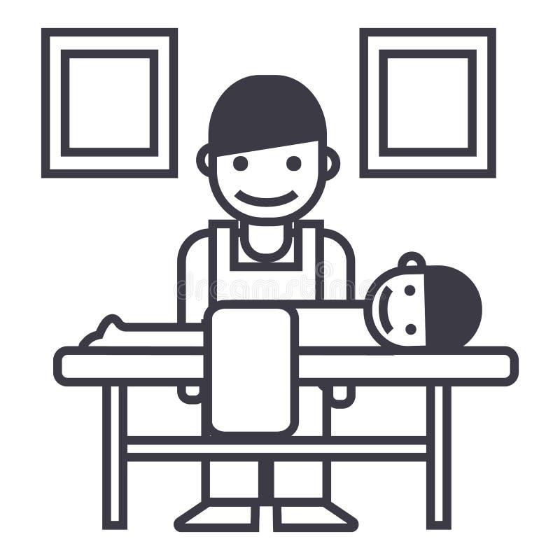 Masseur, ligne icône, signe, illustration de vecteur de chiroprakteur sur le fond, courses editable illustration stock