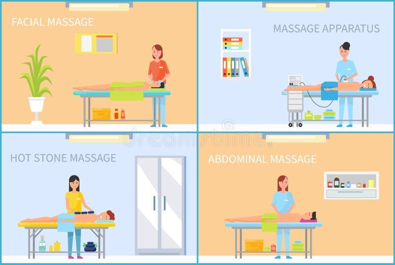 Masseuse Massaging Client in de Reeks van het Kabinetsbeeldverhaal stock illustratie