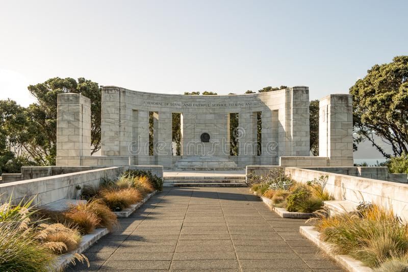 Sunset At Massey Monument. The Massey Memorial is the mausoleum of New Zealand Prime Minister William Massey, at Point Halswell on the Miramar Peninsula stock photography