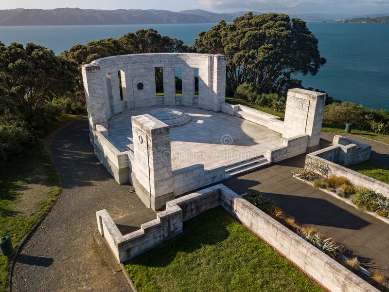 Massey Monument At Sunset. The Massey Memorial is the mausoleum of New Zealand Prime Minister William Massey, at Point Halswell on the Miramar Peninsula royalty free stock photos