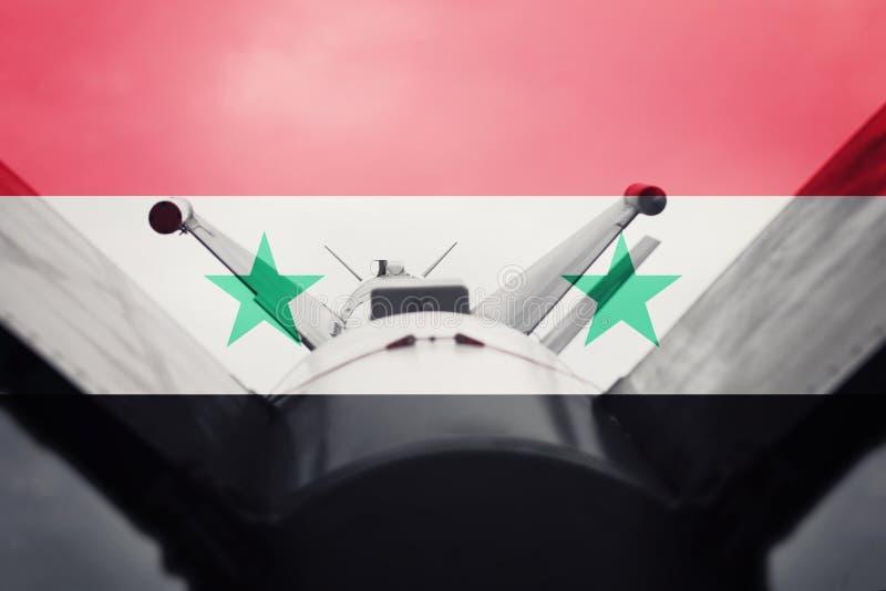 Massförstörelsevapen Syriansk ICBM-missil Krigbakgrund fotografering för bildbyråer