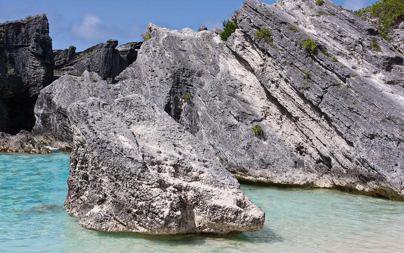 Massi alla baia a ferro di cavallo, Bermude immagine stock