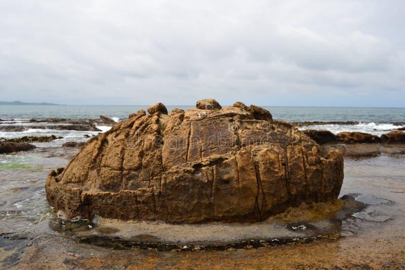 Massi di Moeraki, paesaggio unico della spiaggia immagini stock