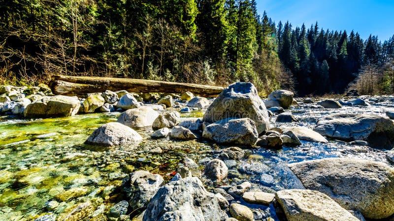 Massi nell'acqua cristallina dell'insenatura della cascata subito dopo le cadute nel parco regionale dei salti in serie, Columbia fotografie stock libere da diritti
