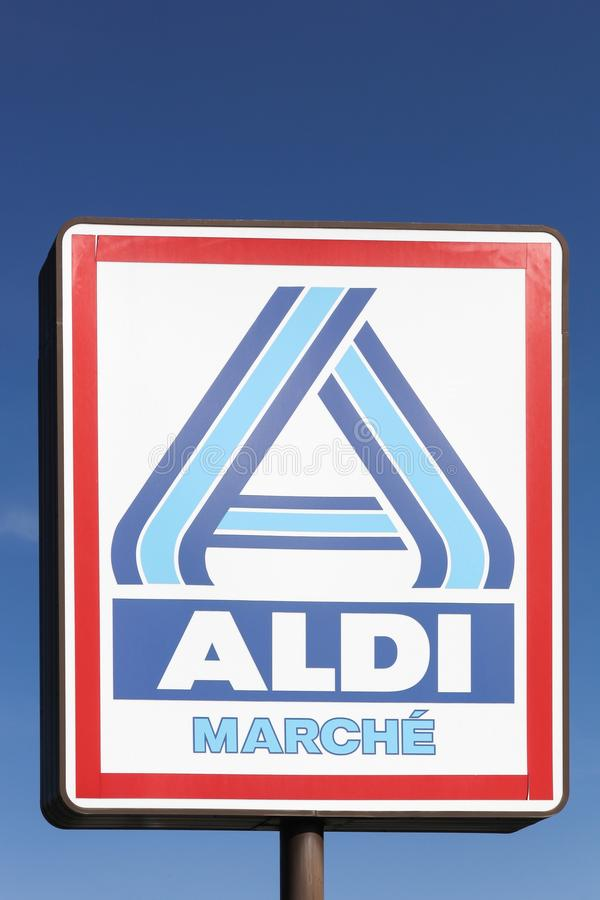 Aldi Market Logo On A Pole In France Editorial Stock Photo Image