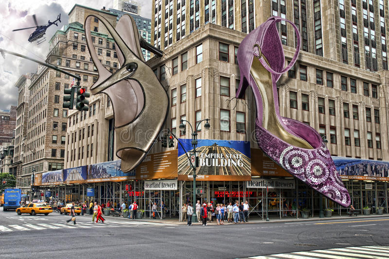 Massieve schoenen in New York stock foto's