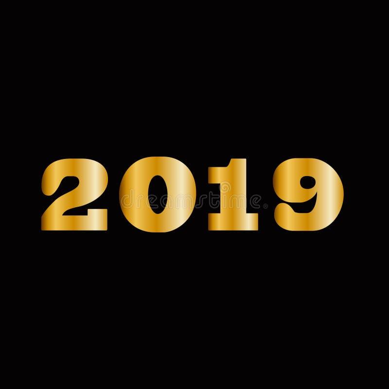 Or massif brillant 2018 nombres d'isolement sur le fond noir illustration de vecteur