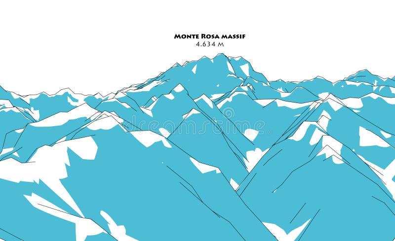 Massif de Monte Rosa, soulagement de taille, dessinant illustration de vecteur