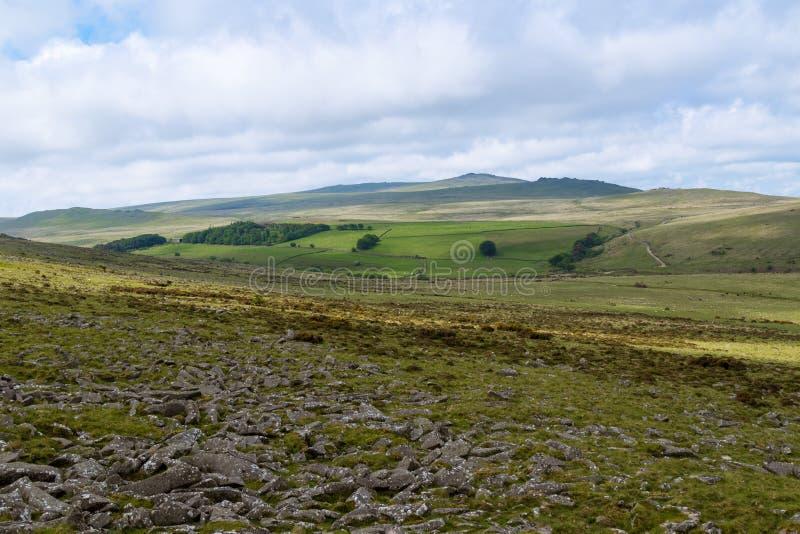Massif de roche de Belstone sur Dartmoor images libres de droits