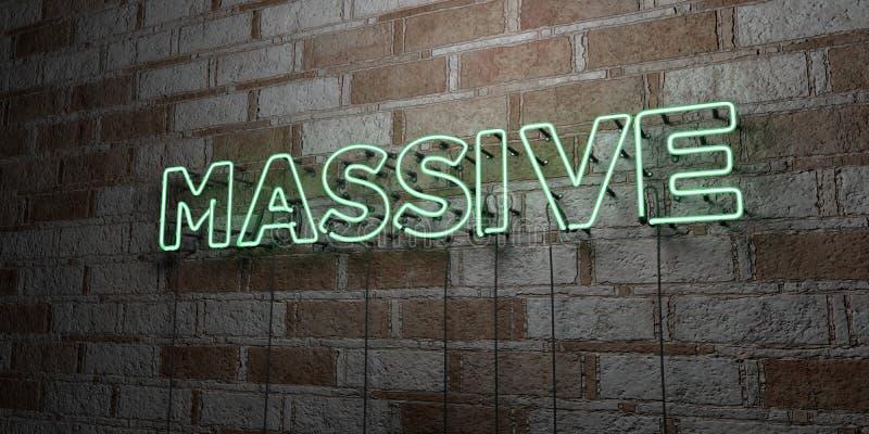 MASSIF - Enseigne au néon rougeoyant sur le mur de maçonnerie - 3D a rendu l'illustration courante gratuite de redevance illustration libre de droits