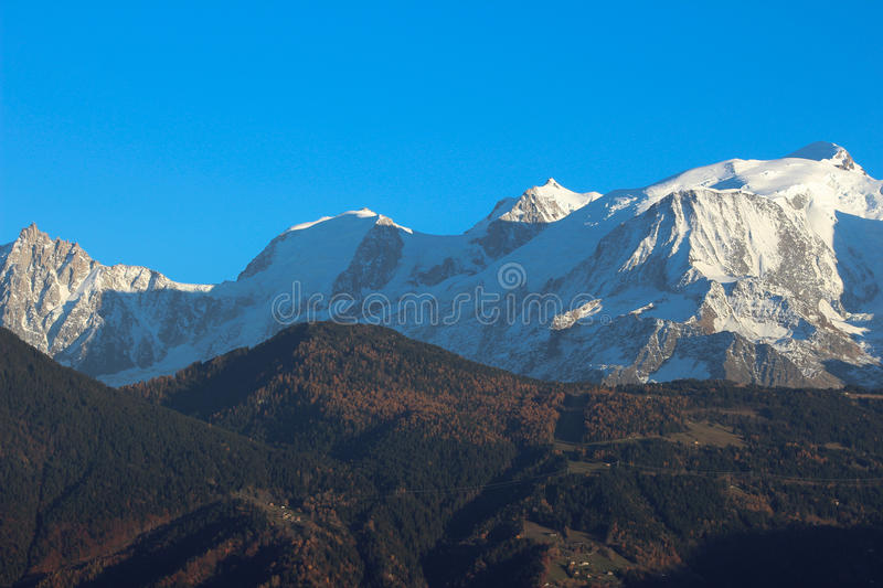 Massif Mont Blanc in autumn royalty free stock photo