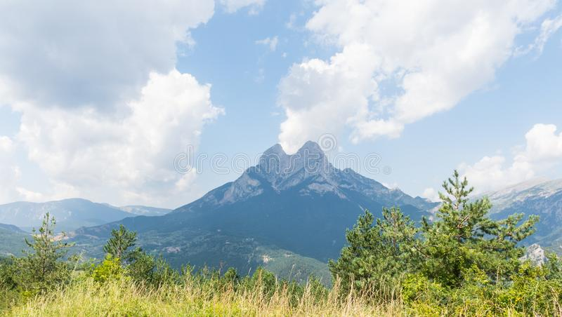 Massif and mountain peak El Pedraforca. It is one of the most emblematic mountains of Catalonia, Spain stock photography