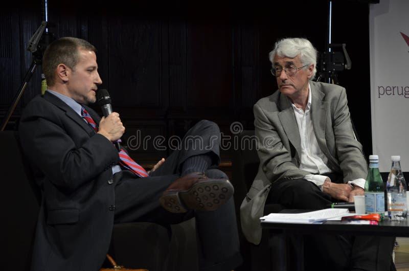 Massimo Giannini en Colin buigen stock foto's