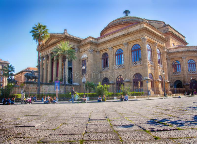 The Massimo Theatre in Sicily, Palermo, Italy. HDR photo of the Massimo Theatre in Sicily where was filmed the final scene of `The God Father royalty free stock photos