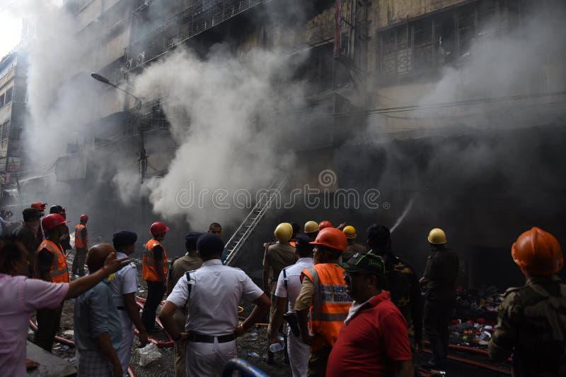 Massiv brand på den Kolkata grossistmarknaden royaltyfria foton