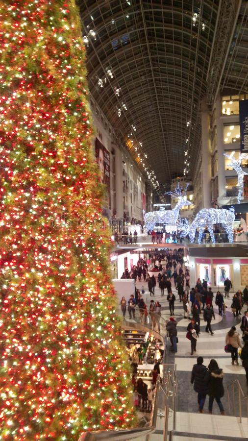 Massiv julgran som tänder vägen för shoppare i en galleria royaltyfri fotografi