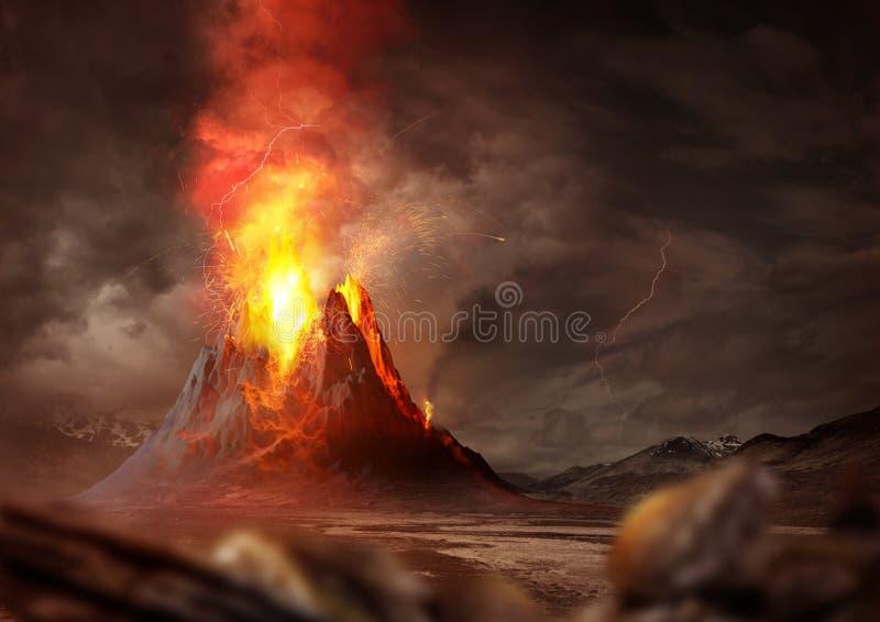 Massiva Volcano Eruption royaltyfri illustrationer