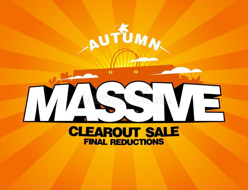 Massive autumn sale design with shopping bag. Massive autumn sale design with shopping bag on a rays backdrop stock illustration