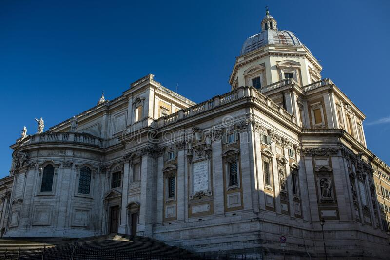 Massive church. In Rome, Italie, by a sunny winter day royalty free stock photos