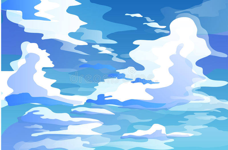 Massive cumulus clouds in the sky during the day vector. Massive cumulus clouds in the sky stock illustration