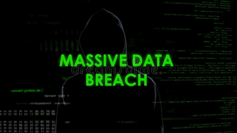Massive data breach, professional criminal successfully copying information. Stock photo stock images
